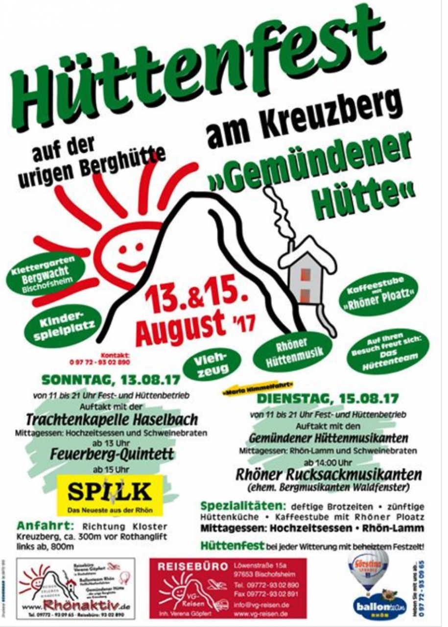 Hüttenfest am 13. und 15. August